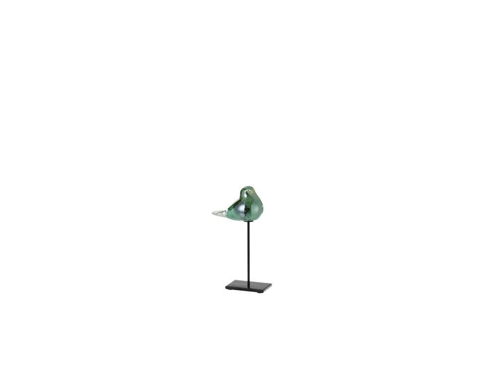 Oiseau + Pied Verre/Métal Vert Small (13614)